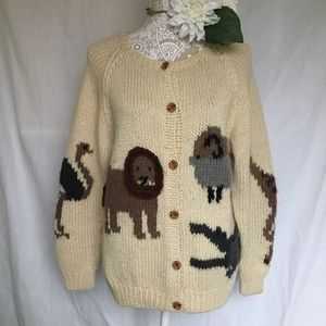 Marisa Christina // Hand Knit Wool Animal Cardigan